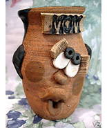SIGNED ART POTTERY FACE Mug Cup MOM POUTY LIPS Vintage Collectible Colle... - $19.95