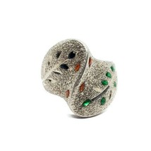HOD 925 Sterling Silver Enamel Vines Chunky Ring Size 5.75 - $14.84