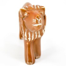 Hand Carved Soapstone Orange Tawny Lion Figurine Made in Kenya image 2