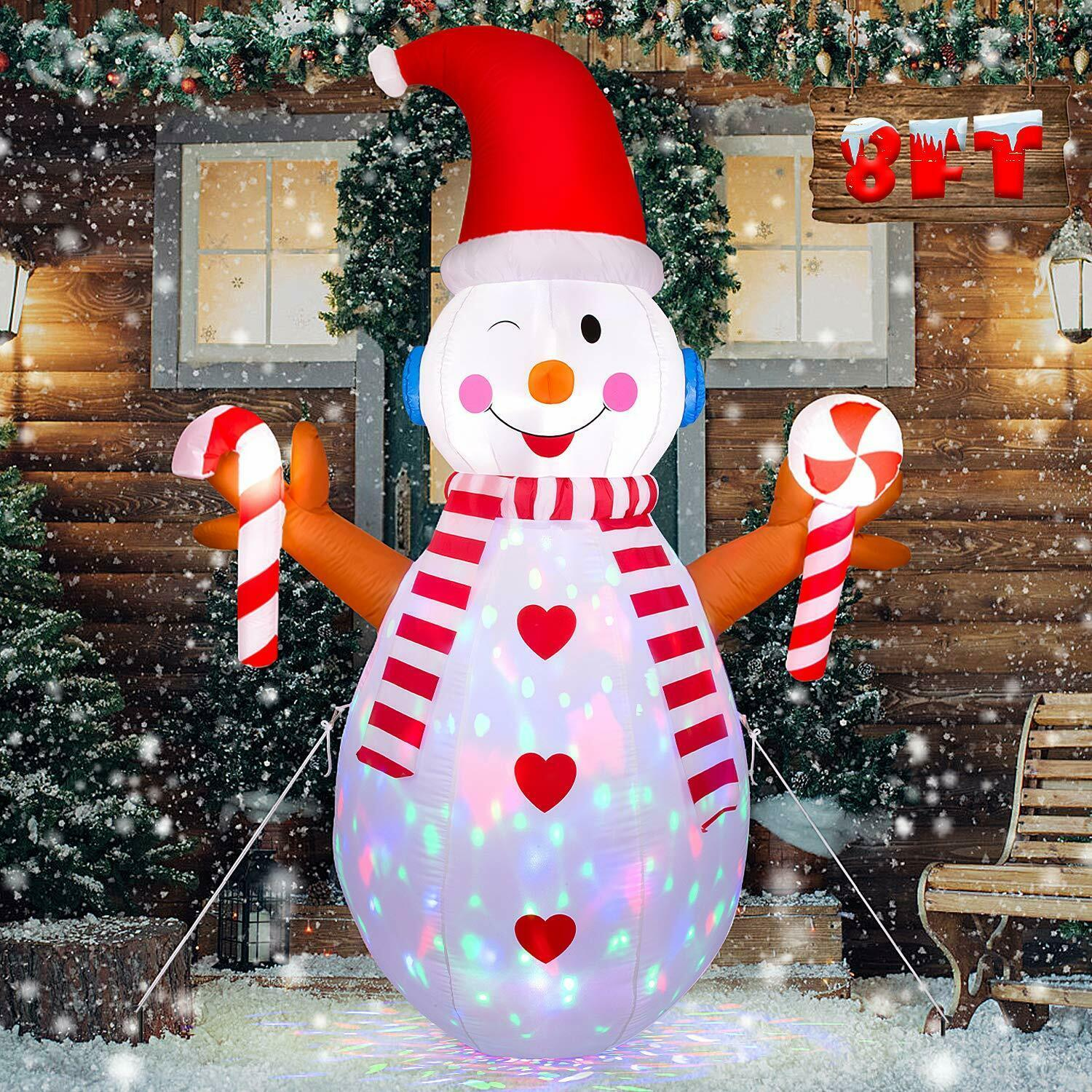 Primary image for NEW 8 ft. Tall Snowman Christmas Airblown Inflatable Flashing Lights Yard Decor
