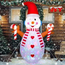 NEW 8 ft. Tall Snowman Christmas Airblown Inflatable Flashing Lights Yar... - $69.29