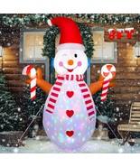 NEW 8 ft. Tall Snowman Christmas Airblown Inflatable Flashing Lights Yar... - $69.29