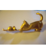 Cat and Mouse Pin in Gold tone Pave - Vintage - $22.00