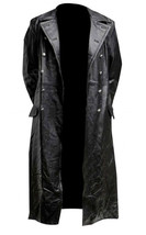 German Classic WW2 Military Officer Uniform Black Costume Leather Trench Coat image 2