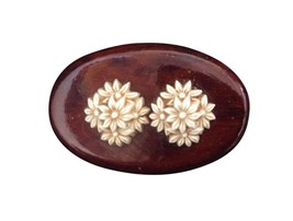 Vintage wooden lacquer oval costume jewelry floral design brooch pin rl179 - $27.08