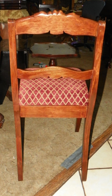Mahogany Carved Desk Chair / Dinette Chair  red gold