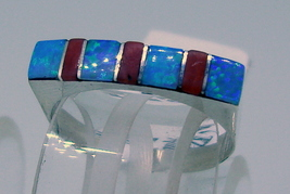Ring handmade sterling silver, Zuni ,channel set ,fire opal and coral ,s... - $45.00