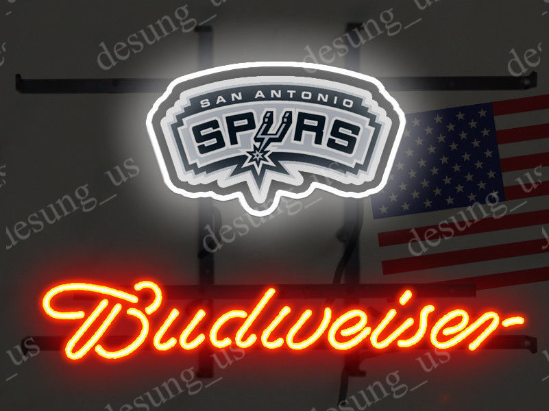 """New Budweiser San Antonio Spurs Beer Neon Sign 19""""x15"""" Ship From USA"""