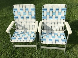 Vtg 90s matching Pair Aluminum Folding Lawn Chairs Webbing Patio Camping... - $59.40