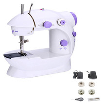 Mini Sewing Machine Dual Speed Portable Electric Pedal Double Threads St... - $37.39