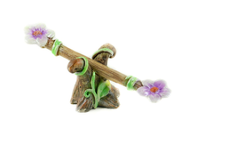 Spring Seesaw, Pink and White Flower Teeter Totter, Fairy Garden Accessory - $8.99