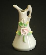 Vintage Mini Ceramic Pitcher w Rose Flowers White w Gold Accents Shadowbox Decor - $6.92