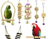 Nice! Bird Toys Set of 7 Natural Wooden Toys Swing, Perch, Bridge, Hanging Toys