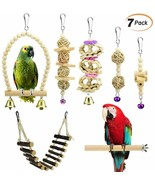 Nice! Bird Toys Set of 7 Natural Wooden Toys Swing, Perch, Bridge, Hangi... - £22.66 GBP