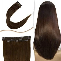 """RUNATURE Remy Weft Clip In Hair Extensions Fine Hair 14"""" Chocolate Brown Straigh - $43.21"""
