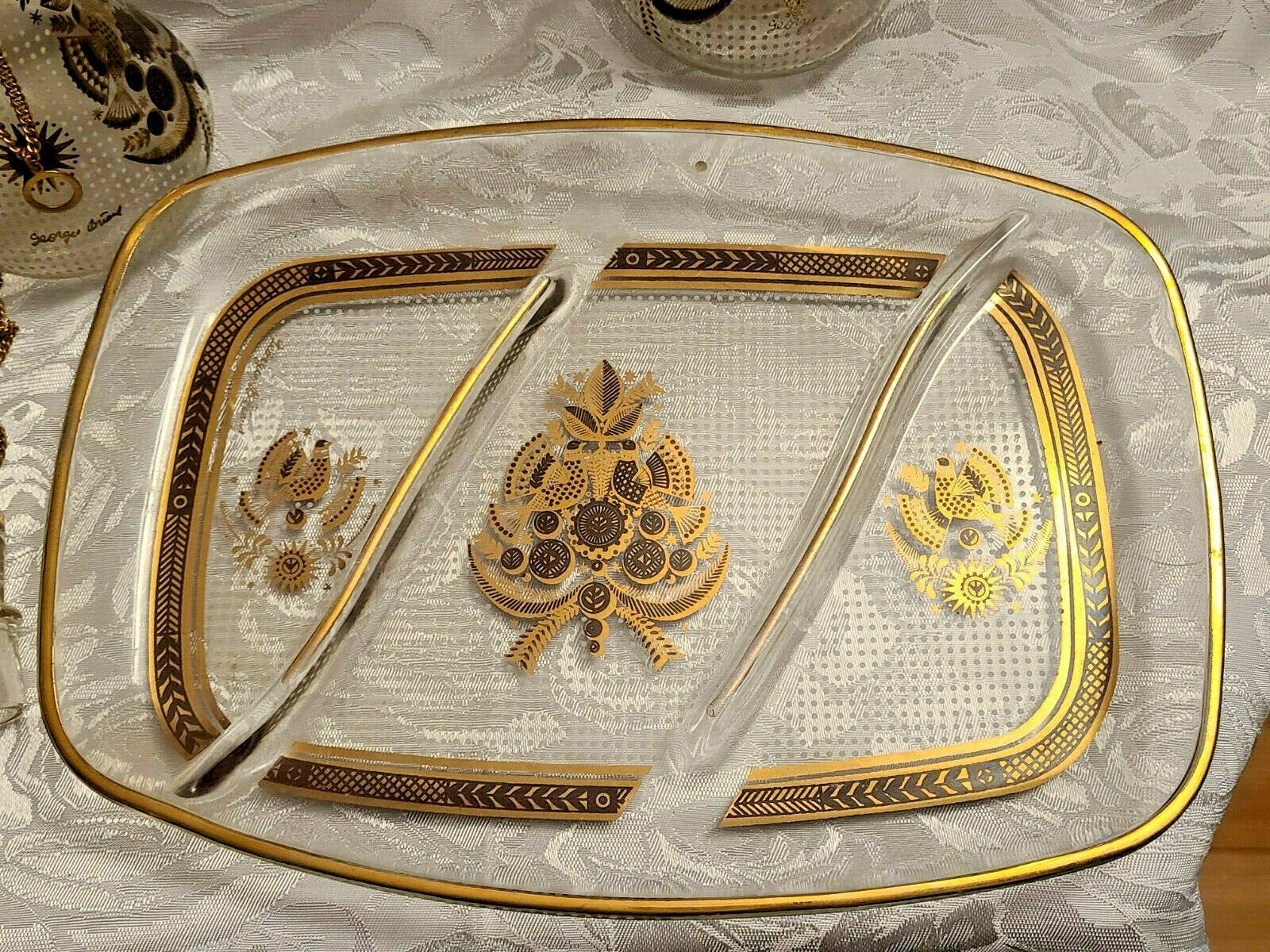 RARE 1950's Georges Briard Sonata Dove Rectangle Glass Tray & Cruets V&O