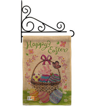 Happy Easter Colourful Basket Eggs Burlap - Impressions Decorative Metal Fansy W - $33.97