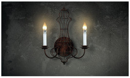 Industrial Candle Stick Double Sconce Antique Rustic Wall Lamp Loft  E14 Light - $146.89