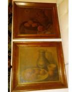 SET OF Antique-UNTOUCHED VINTAGE Wood Framed Still Life Fruit Prints SPO... - $24.75