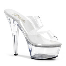 "PLEASER Sexy Clear Platform 6"" High Heel Stripper Dancer Double Strap Shoes - $39.95"