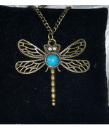 Dragonfly brass gold tone faux Turquoise necklace new 20 inches  - $15.00