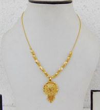 South Indian Jewelry Ethnic Gold Plated Necklace Chain Pendant 22k Light... - $9.49