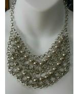 Vintage Designer Silver-tone Heavy Ball/Chain Link Choker Statement Neck... - $74.25