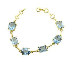 Blue Gold Plated Glass pleasing Tanzanite CZ supplies Bracelet AU gift - $26.52