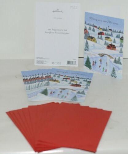 Hallmark X7471 Merry Christmas Village Card Red Envelope Package 10