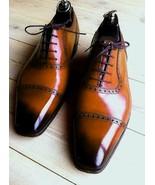 New Trendy Two Tone Cap Toe Shoes, Best Men's Lace up Shoes - $158.99