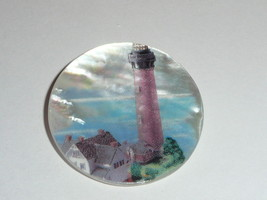 """Red Lighthouse & Buildings MOP - Mother Pearl Shank Button 1-3/8"""" Currit... - $11.99"""