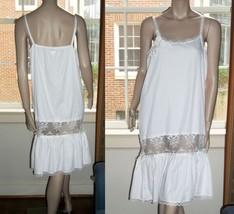 Lace Nightgown Applique  M/L Rosettes Ruffle Hem Blush Cinzia Linea Intima - $49.49