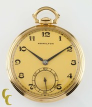 Hamilton 14K Yellow Gold Antique Open Face Pocket Watch Gr 923 10S 23 Jewel - $2,729.39