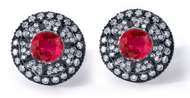 Victorian 2.36ct Rose Cut Diamond Ruby Fashionable Wedding Pretty Earrings - $302.01