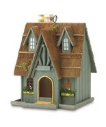Thatch Roof Wood Cottage Chimney Birdhouse Bird House - $28.94