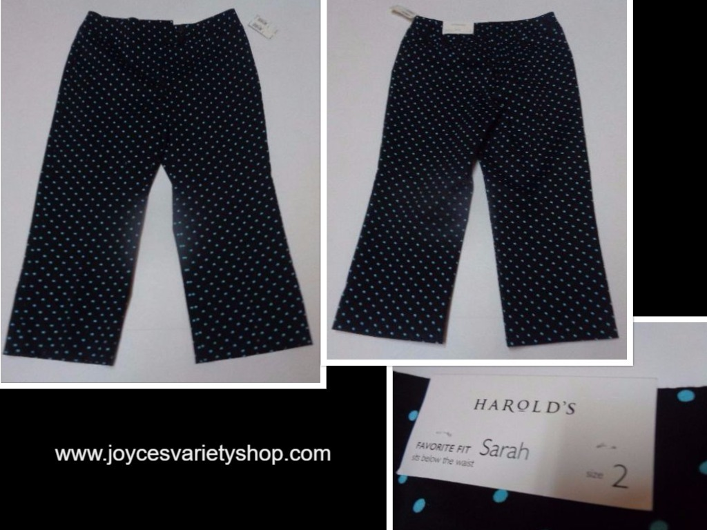 Harold's Sarah Capri Below Waist NWT Black & Blue Polka Dot Women's SZ 2