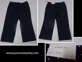 Harold's Sarah Capri Below Waist NWT Black & Blue Polka Dot Women's SZ 2 - $16.99