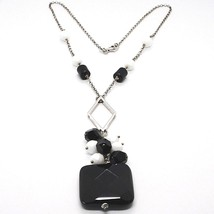 SILVER 925 NECKLACE, ONYX BLACK, PENDANT BUNCH, 17 11/16in, CHAIN ROLO' image 2