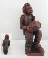 Bongo Playing Red Clay Musician Figurine - $18.69