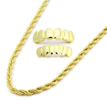 "Mens 14K Gold Plated 4mm 20"" Rope Necklace Chain W/ Set Of Grillz Top & ... - $11.87"
