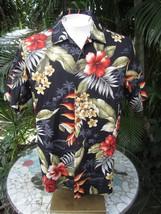 Hawaiian ALOHA shirt M 22 pit to pit BISHOP ST. cotton tropical floral c... - $13.71