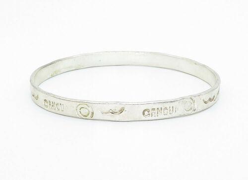 TAXCO 925 Sterling Silver - Vintage Cancun Etched Pattern Bangle Bracelet- B5871