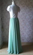 Boho Wedding Bridesmaid Dress Chiffon Maxi Skirt Short Sleeve Crop Lace Top  image 6