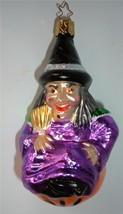 Inge Halloween Ornament Which Witch Mercury Glass Germany Lady On Pumpkin Xmas - $19.79