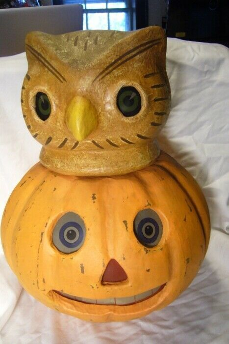 Bethany Lowe Owl on Jack O Lantern Paper Mache Lighted