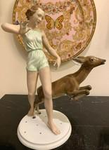 Rosenthal Kunstabteilung Selb Handgemalt Running with Deer Porcelain Fig... - $399.00