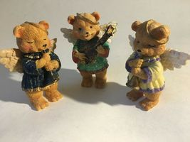 "3 Bear Angels Musical Band Instruments Resin Figurine 4"" image 3"