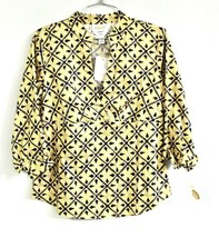 Talbots Womens S Stretch Cotton Blouse Yellow Blue Print  Elbow Sleeve N... - $17.06