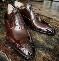 Handmade Men's Maroon Heart Medallion Lace Up Dress/Formal Oxford Leather Shoes image 5
