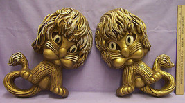 Pair of Plastic Homco Lion Wall Hanging Decor Gold w/ White Accent Cute - $15.83